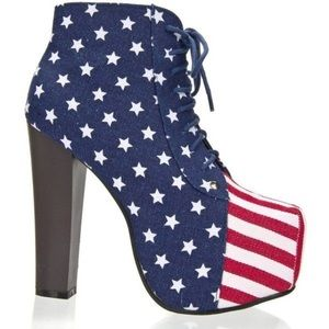 Shoes - 🇺🇸 American Flag PLATFORM Ankle Boots🇺🇸Size 10